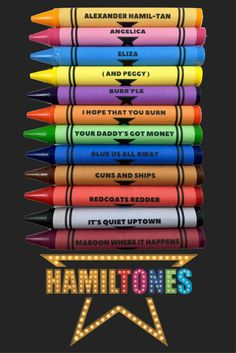 "JUST RELEASED! The ""Hamiltones"" are here! Set of 12 Hamilton themed crayons. *Another THEATRE NERDS Exclusive Product. ***Limited edition, while supplies last. Note: Due to high demand, delivery time"