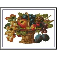 Victorian Fruit Basket Cross Stitch Pattern