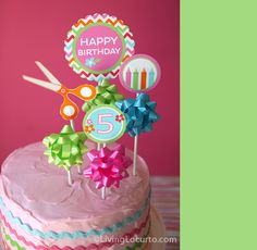 Birthday Cake Craft Party - love the fun cake toppers - super easy too