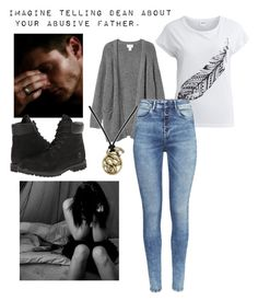"""Imagine telling Dean about your abusive father."" by ohmyimaginethat ❤ liked on Polyvore featuring Object Collectors Item, Monki, H&M, Timberland, Retrò and bathroom"