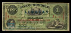 Bank of Montreal Dollar, 1859 - Various banks printed their own currency until eventually the Bank of Montreal was charged with being the official issuer of the Canadian dollar, a practice that stayed in place until the Bank of Canada was created in the 1930s | #banknote #money