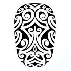 A human face half sleeve tattoo in Polynesian style.