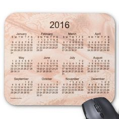 Peach Silk 2016 Calendar Mouse Pad Design from Calendars by Janz