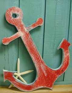 Anchor Wooden Beach Lake House Cottage Nautical by CastawaysHall
