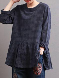 Women Check Long Sleeve Ruffled Loose Baggy Blouse