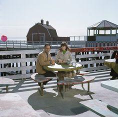 Don Adams and Barbara Feldon on location for Get Smart