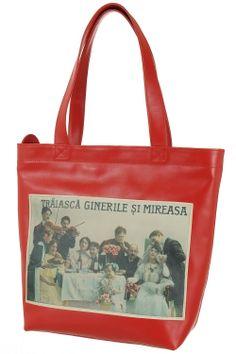 Geanta piele si print Ginerile si mireasa Reusable Tote Bags