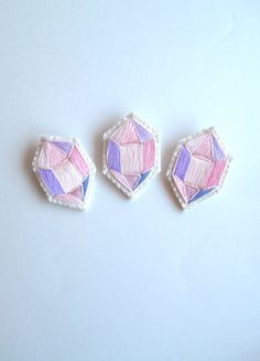 Embroidered brooch geometric faux gem in pretty pinks and lavenders on cream…