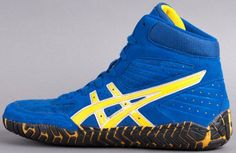 Aggressor Wrestling Shoes - Asics - Royal Blue and Gold Royal Blue And Gold, Blue Gold, Royal Blue Sneakers, Martial Arts Books, Boxing Boots, Fort Lewis, Wrestling Shoes, Muay Thai, Asics