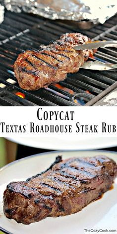 Texas Roadhouse Steak Rub A simple combination of ingredients will bring out the best flavors in your chicken or steak, and tastes just like the Texas Roadhouse restaurant!A simple combination of ingredients will bring out the best flavors in your chicken Skirt Steak Recipes, Grilled Steak Recipes, Grilling Recipes, Meat Recipes, Cooking Recipes, Grilled Steaks, Simple Steak Recipes, Grilled Steak Marinades, Vegetarian Grilling