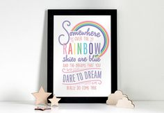 Somewhere Over the Rainbow, Wizard of OZ Print, Dorothy Print, Nursery Print, Playroom Print, Inspirational Quote, Playroom Poster