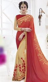 Beige and Red Color Georgette Half N Half Sari #utsavsaree #tussarsilksareeonline Complement your gorgeous outfit with this beige and red color georgette half n half sari. The wonderful dress creates a dramatic canvas with amazing lace work. Upon request we can make round front/back neck and short 6 inches sleeves regular saree blouse also.  USD $ 81 (Around £ 56 & Euro 62)