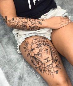 Lion Tattoo On Thigh, Cute Thigh Tattoos, Cute Tattoos, Body Art Tattoos, Amazing Tattoos, Thigh Tattoos For Girls, Tatoos, Girl Leg Tattoos, Hip Tattoos
