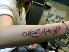 Lifeline Tattoos, Ekg Tattoo, Name Tattoos On Wrist, Forearm Tattoos, Tatoos, Mommy Tattoos, Mother Tattoos, Trendy Tattoos, Mini Tattoos