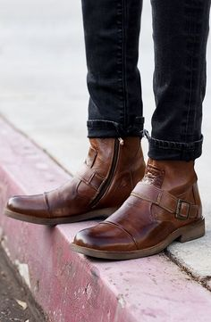 Update your Moto look with a brown leather boot by BEDSTU. Wear with dark denim and cuff for extra styling.