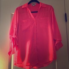 Express Hot Pink Portofino Portofino's make any outfit perfect! Dress it up or dress it down- best essential piece!  Express Tops Button Down Shirts