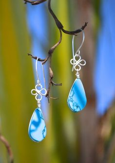 Silver Earrings with Spiderweb Turquoise by Coco Paniora Salinas