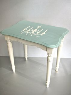 Shabby Side Table, Vintage Table, Wood Table, Aqua, Chandelier, Cottage Chic, Rustic Farmhouse, French Inspired, Accent Table. $75.00, via Etsy.