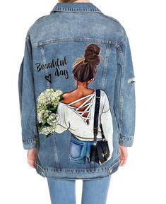 This Egyptian Designer Customises Denim Jackets to Suit Your Personality Customised Denim Jacket, Custom Denim Jackets, Painted Denim Jacket, Painted Jeans, Painted Clothes, Fabric Paint Shirt, Paint Shirts, T Shirt Painting, Fabric Painting