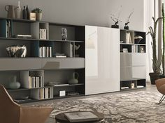 Sectional lacquered storage wall URBAN Atelier Collection by MisuraEmme | design Iriam Bettera