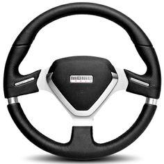 2005-2009 Saab 9-7X MOMO Millenium Evo Steering Wheel (Black Leather, Silver Spoke)