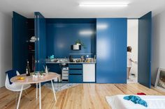Fala Atelier has transformed an old house in Porto into five studio apartments featuring matching dark blue shutters and a patterned tile facade. Colorful Interior Design, Gray Interior, Interior Design Inspiration, Kitchen Interior, Colorful Interiors, Interior Ideas, Studio Apartments, Kitchen Design Trends 2018, Make A Closet