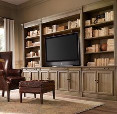 Drake barrel back chair built in shelves, built in tv wall unit, built in t Built In Tv Cabinet, Built In Shelves, Built Ins, Tv Shelving, Large Entertainment Center, Entertainment Room, Entertainment Products, Entertainment System, Leather Wingback Chair