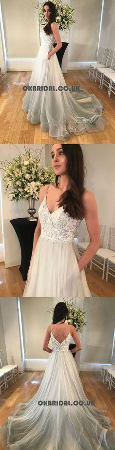 Spaghetti Straps Lace Top Organza Wedding Dresses, Tulle A-Line V-Neck Wedding Dresses, KX676 #wedding