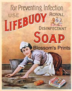"""Antique Advertising """" For Preventing Infection, use Lifebuoy Disinfectant Soap""""…"""