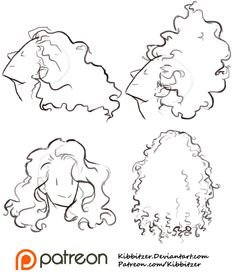 kibbi:    Curly Hair Reference Sheet 1 by *kibbitzer    I'm studying curly hair! this is a little preview, you can find the complete series (9) on Patreon! My advice is: don't be too detailed.. you can get a good result with a few lines! enjoy the curls, don't be afraid of those bitches! XD      Patreon  Facebook Deviantart