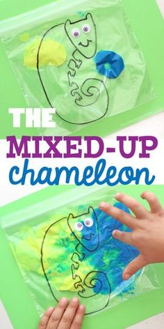 The Mixed-Up Chameleon paint mixing activity for preschoolers