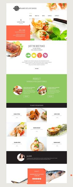 Template 54814 - Seafood Restaurant Responsive Website Template with Slider and Gallery Best Restaurant Websites, Restaurant Website Design, Website Design Company, Seafood Restaurant, Restaurant Recipes, Layout Web, Website Layout, Webdesign Layouts, Responsive Layout