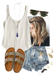 A fashion look from February 2016 featuring Renzo and Kai tops, American Eagle Outfitters sandals and Alex and Ani bracelets. Browse and shop related looks. Fashion Moda, Cute Fashion, Teen Fashion, Fashion Outfits, Womens Fashion, Cute Summer Outfits, Spring Outfits, Moda Preppy, Mode Outfits
