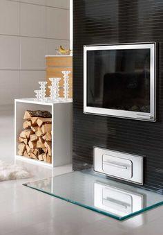 Sisustus - takkahuone - moderni säilytysratkaisu Lund, Home Fashion, Shelving, Kitchen Appliances, Black And White, Interior Design, House Styles, Organize, Shelves