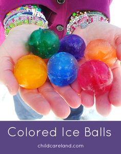 Colored Ice Balls ... great for outdoor learning centers ... math ... sorting ... and sensory play.