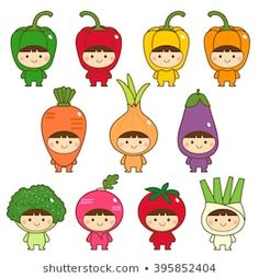 Find Set Kids Cute Vegetables Costumes stock images in HD and millions of other royalty-free stock photos, illustrations and vectors in the Shutterstock collection. Thousands of new, high-quality pictures added every day. Griffonnages Kawaii, Kawaii Fruit, Kawaii Drawings, Cute Drawings, Cartoon Styles, Cute Cartoon, Vegetable Costumes, Fruit Costumes, Baby Posters