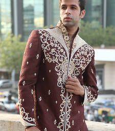 Buy rust maroon silk tanchhoi embroidered sherwani sherwani online