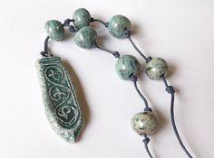 Ceramic Raku Necklace OOAK necklace ceramic by BlueBirdyDesign Ceramic Pendant, Ceramic Jewelry, Ceramic Artists, Mud, Pendants, Pottery, Ceramics, Drop Earrings, Beads