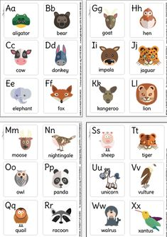 Free animal alphabet picture cards