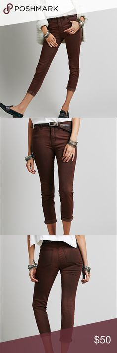 Free People Jeans High Rise Roller Skinny Never worn, perfect condition free people mocha pants. Size 31. Super soft material! Price negotiable  :) Free People Pants Ankle & Cropped