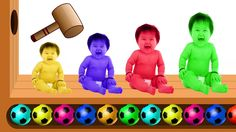 Learn Colors with WOODEN FACE HAMMER XYLOPHONE BAD BABY Soccer Balls for Kids Finger Family Rhymes