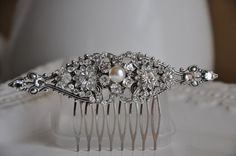 Bridal Hair CombArt Deco Style Hair CombFlower by cynthiacouture