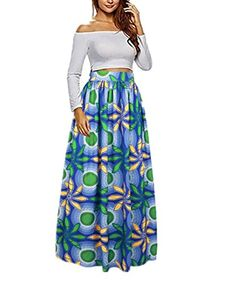 6c1d84e47ba Uideazone Women African Floral Maxi Skirts High Waist A Line Long Skirts  With Pockets - best woman s fashion products designed to provide