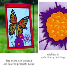 """Butterfly Garden Flag.  Applique and embroidery detail with felt and glitter accents.  Size: 12.5"""" x 18""""  Free Shipping in the USA"""
