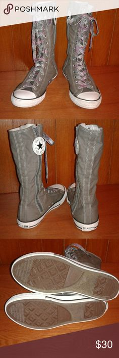 Adorable Converse Mid Calf Sneakers In great condition, barely worn.  Lace up front. Side zipper with Converse logo.  Mid Calf, grey color. Converse Shoes Sneakers