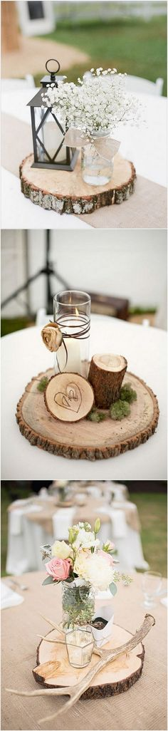 Chic rustic wedding centerpieces with tree stumps #weddingideas #weddingdecor #rusticwedding #countrywedding #weddingcenterpiece