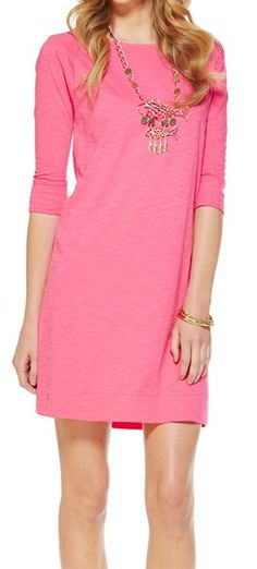 Lilly Pulitzer Cassie Boatneck T-Shirt Dress in Lipstick Pink