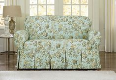 Sure Fit Slipcovers Casablanca Rose by Waverly<sup><small>TM</small></sup> One Piece Slipcovers - Loveseat