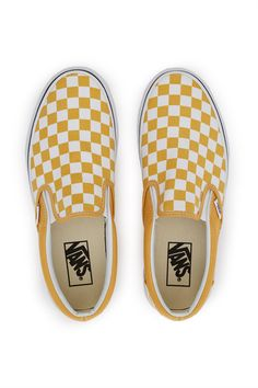 Vans, Checkerboard Slip-On Sneaker A Vans classic, the Checkerboard Slip-On features a sturdy low profile and traditional canvas uppers made with the iconic Vans checkerboard print in yellow and white., US MEN'S SIZING, Round toe, Elasticated side accents, Padded collars, Leather and canvas lining, Original waffle rubber outsole, Imported