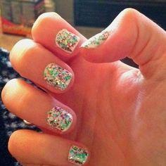 White nail polish underneath glitter nail polish is a nice summery look. #nailtips
